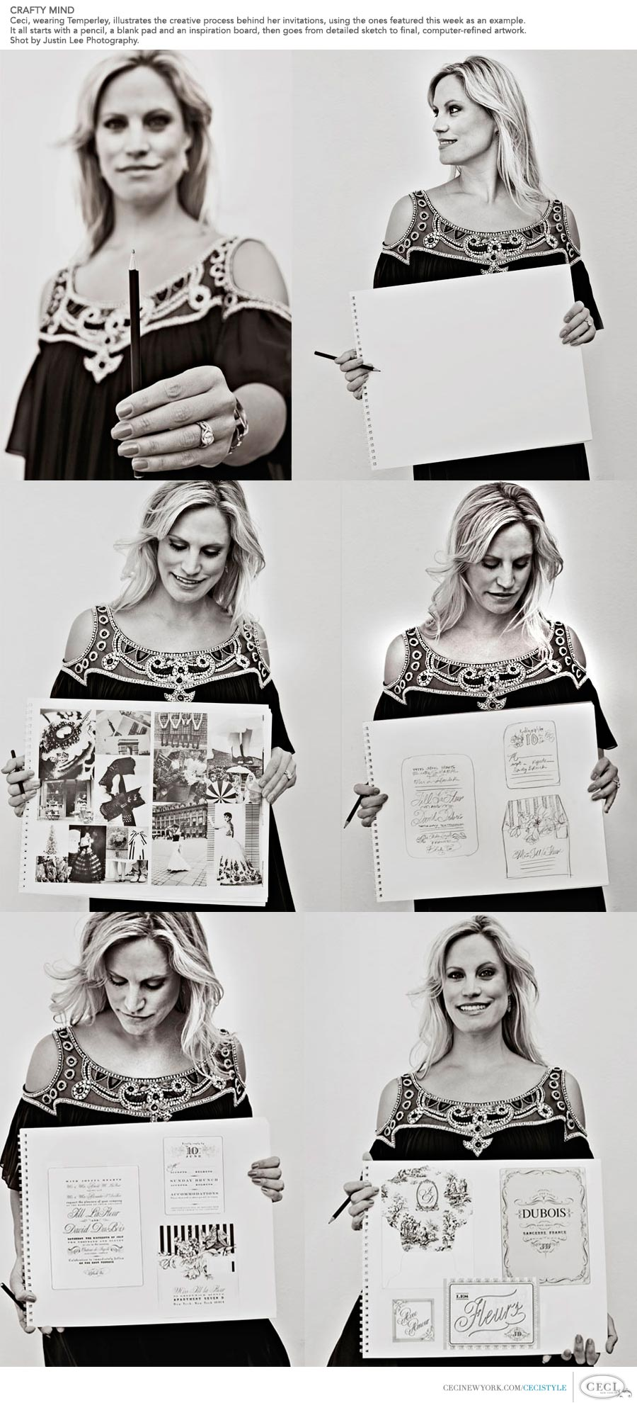 Ceci Johnson of Ceci New York - CRAFTY MIND: Ceci, wearing Temperley, illustrates the creative process behind her invitations, using the ones featured this week as an example. It all starts with a pencil, a blank pad and an inspiration board, then goes from detailed sketch to final, computer-refined artwork. Shot by Justin Lee Photography.