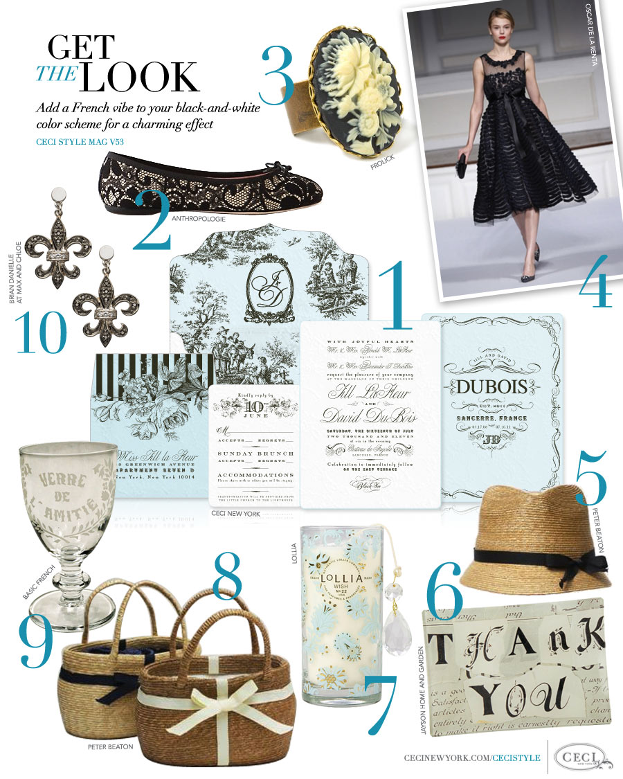 CeciStyle Magazine v53: Get The Look - Add a French vibe to your black-and-white color scheme for a charming effect