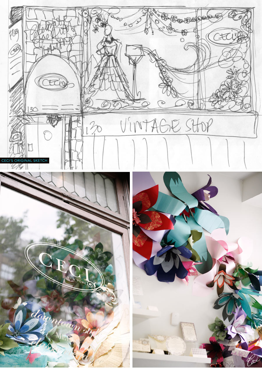 The Ceci New York paper art installation in the New York City showroom.  The sketches of the window concept and pictures of how it came to life.