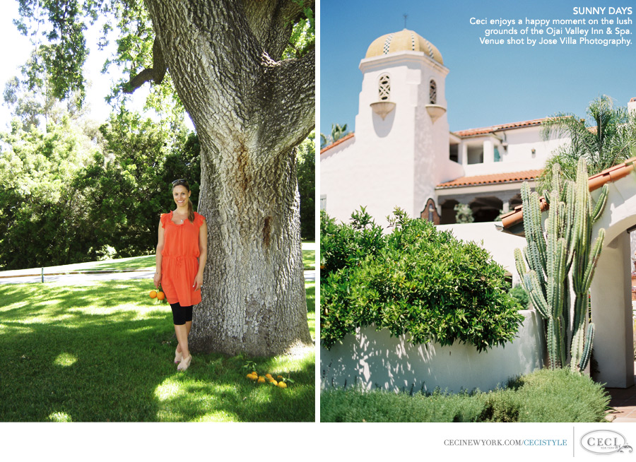 Ceci Johnson of Ceci New York - SUNNY DAYS: Ceci enjoys a happy moment on the lush grounds of the Ojai Valley Inn & Spa. Venue shot by Jose Villa Photography.