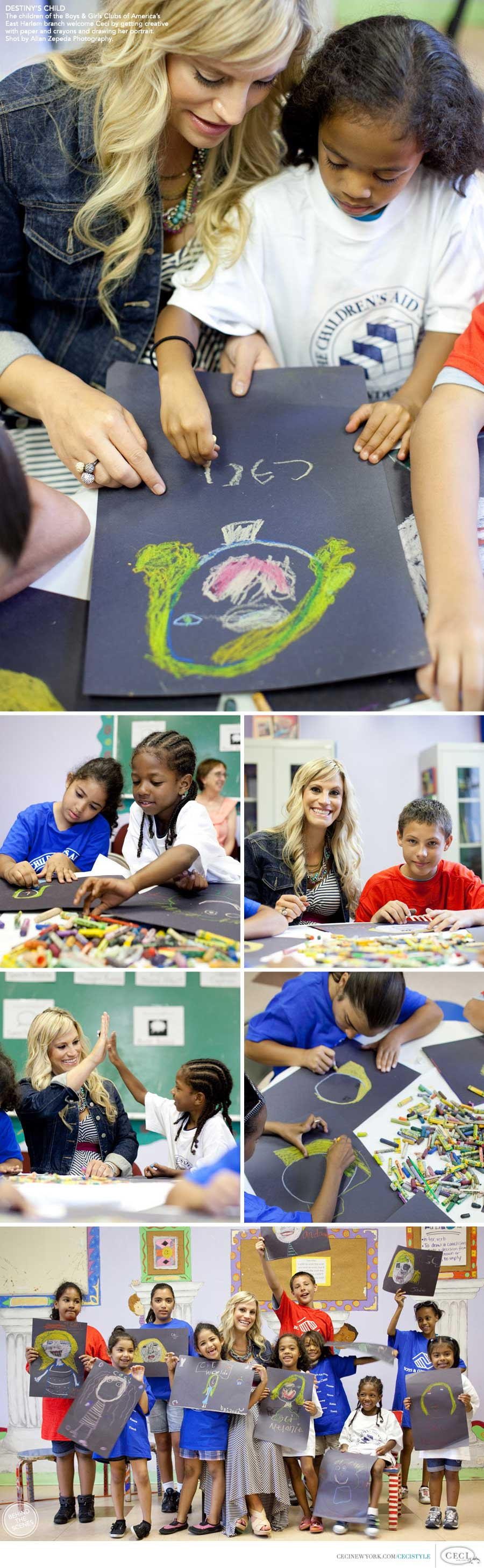 Ceci Johnson of Ceci New York - DESTINY'S CHILD: The children of the Boys & Girls Clubs of America's East Harlem branch welcome Ceci by getting creative with paper and crayons and drawing her portrait. Shot by Allan Zepeda Photography.