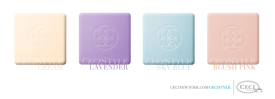 Ceci's Color Stories - Cream & Lavender Wedding Colors - color swatches, blush pink, cream, lavender, sky blue, wedding