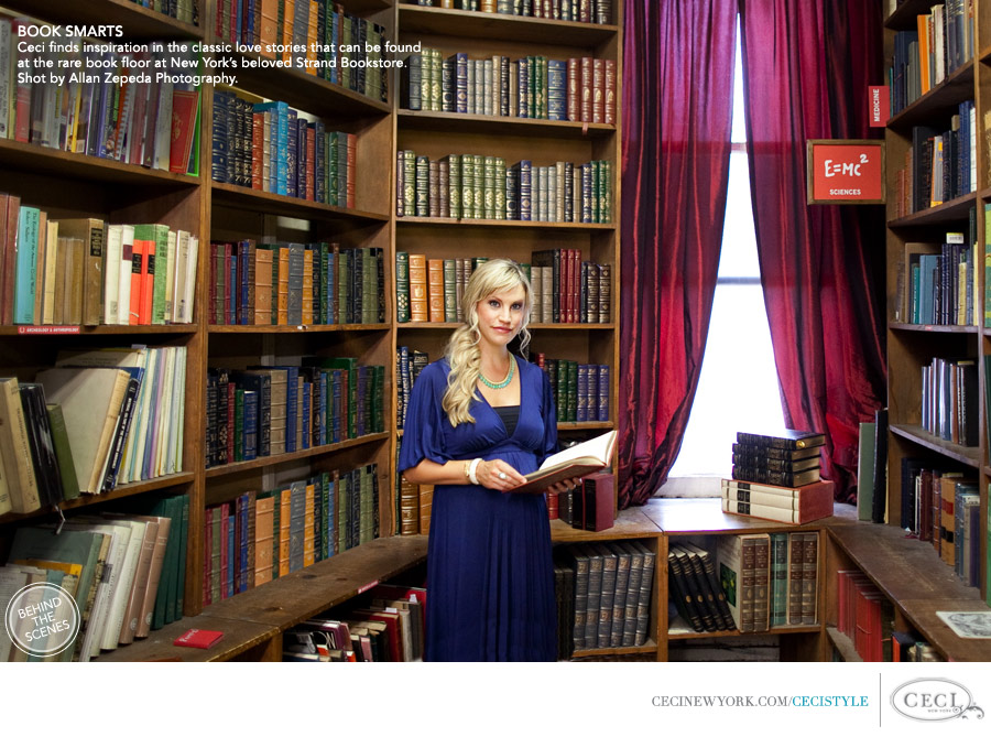 Ceci Johnson of Ceci New York - BOOK SMARTS: Ceci finds inspiration in the classic love stories that can be found at the Rare Book Room at New York's beloved Strand Bookstore. Shot by Allan Zepeda Photography.