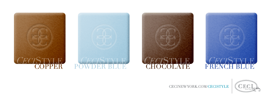 Ceci's Color Stories - Copper & Powder Blue Event Colors - color swatches, copper, powder blue, chocolate, french blue, event