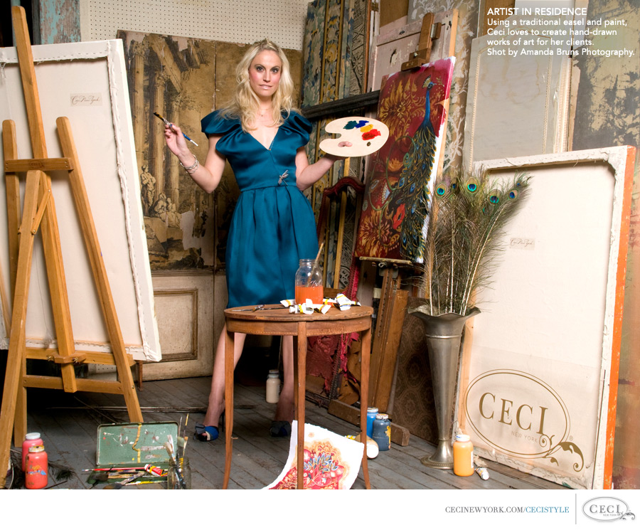 Ceci Johnson of Ceci New York - ARTIST IN RESIDENCE: Using a traditional easel and paint, Ceci loves to create hand-drawn works of art for her clients. Shot by Amanda Bruns Photography.