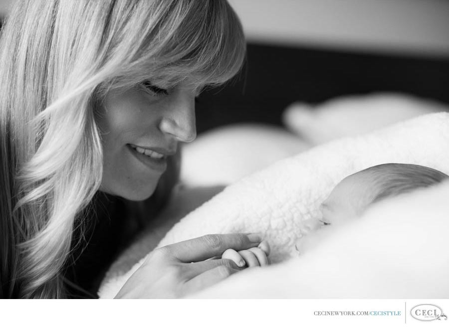 Ceci Johnson of Ceci New York - PRECIOUS MOMENTS: Ceci sits with her son Mason for their very first portrait. Shot by Helga Schaefer.