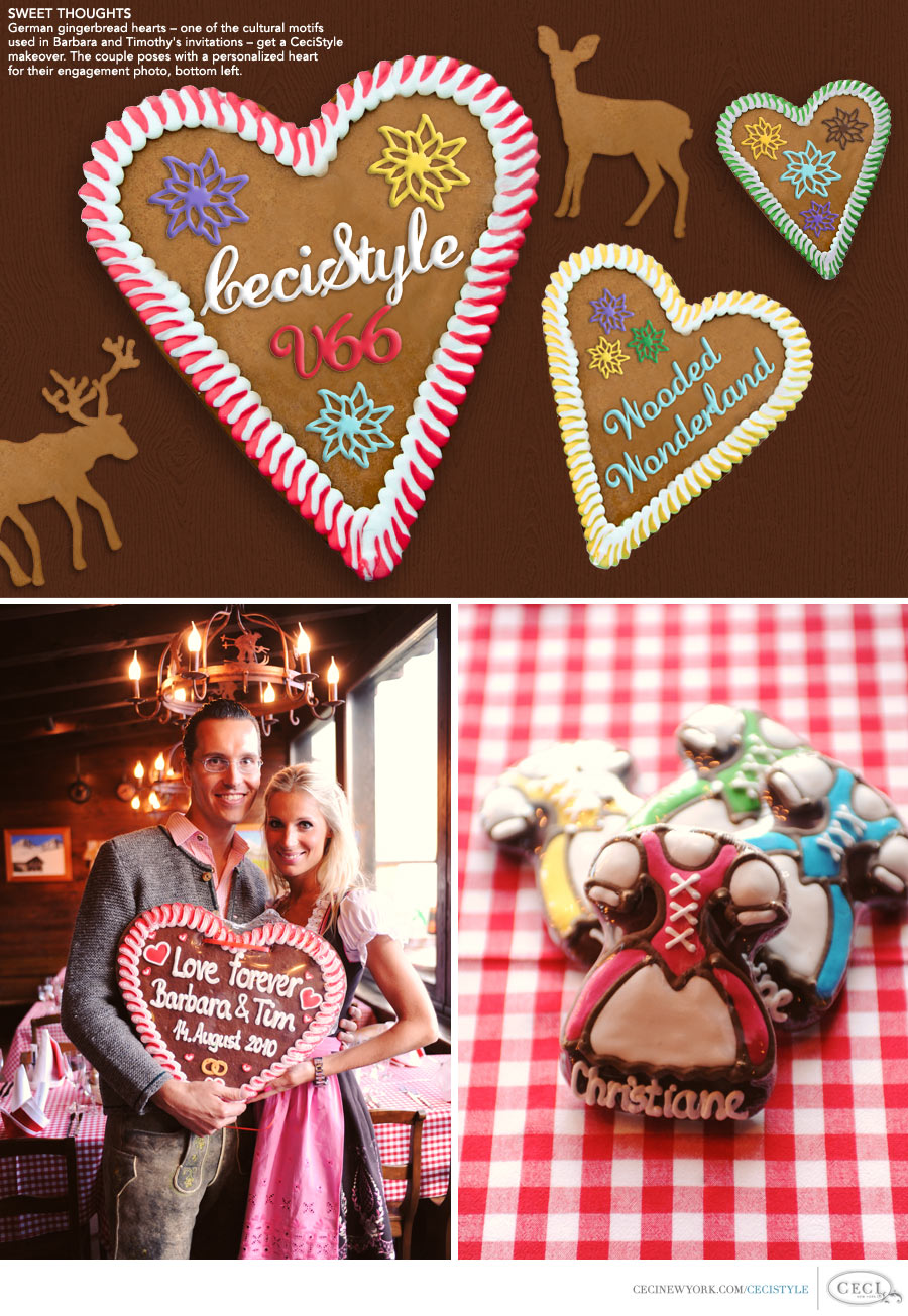 Ceci Johnson of Ceci New York - SWEET THOUGHTS: German gingerbread hearts – one of the cultural motifs used in Barbara and Timothy's invitations – get a CeciStyle makeover. The couple poses with a personalized heart for their engagement photo, bottom left.