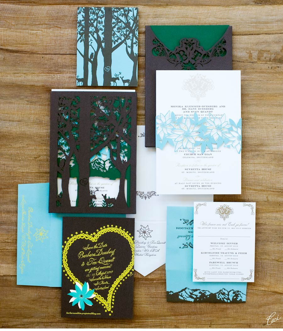 Luxury Wedding Invitations by Ceci New York - Our Muse - Elegant German Wedding - Be inspired by Barbara & Timothy's elegant German-inspired wedding in Switzerland - wedding, invitations, foil stamping, laser-cut printing, letterpress printing