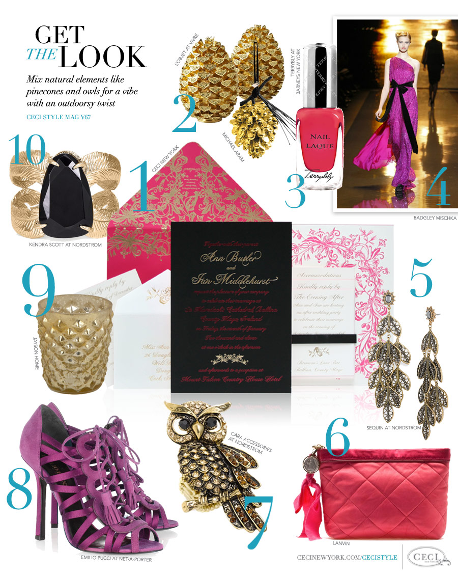 CeciStyle Magazine v67: Get The Look - Country Glamour - Mix natural elements like pinecones and owls for a vibe with an outdoorsy twist