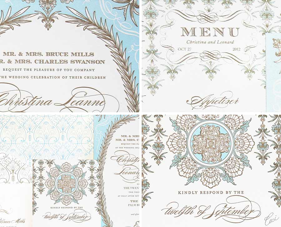 Luxury Wedding Invitations by Ceci New York - Our Muse - Whitehall - Wedding Invitations - Be inspired by the Ceci New York for The Breakers Collection - ceci new york, digital printing, foil stamping, hand calligraphy, invitations, letterpress printing, offset printing, the breakers, wedding