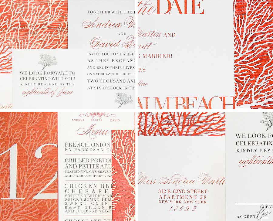 Luxury Wedding Invitations by Ceci New York - Our Muse - Coral Cove - Wedding Invitations - Be inspired by the Ceci New York for The Breakers Collection - ceci new york, digital printing, foil stamping, hand calligraphy, invitations, letterpress printing, offset printing, the breakers, wedding