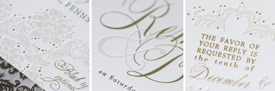 Foil Stamping On Your Invitations:  Remy & David's Couture Invitations