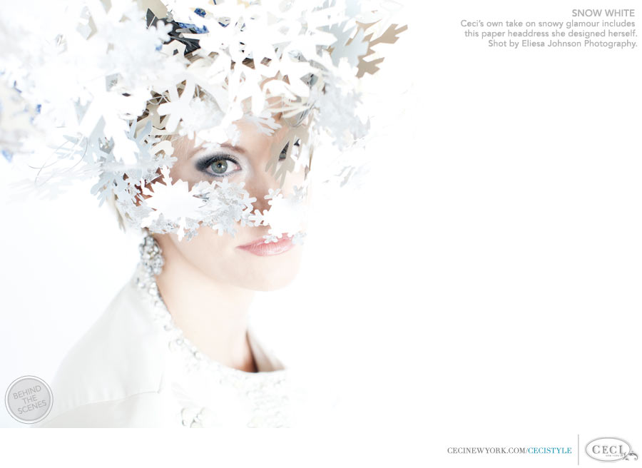 Ceci Johnson of Ceci New York - SNOW WHITE: Ceci's own take on snowy glamour includes this paper headdress she designed out of laser-cut paper snowflakes. Shot by Eliesa Johnson Photography.