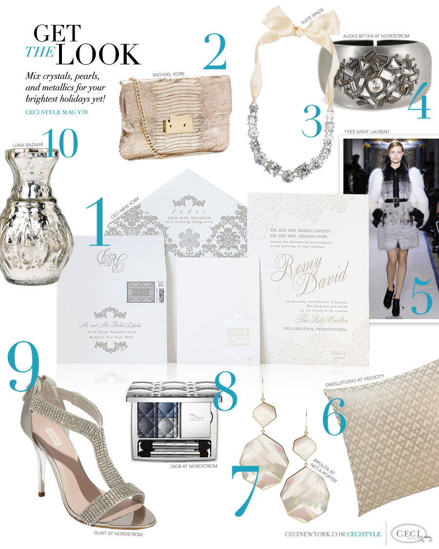 CeciStyle Magazine v70: Get The Look - Winter Reverie - Mix crystals, pearls and metallics for your brightest holidays yet!
