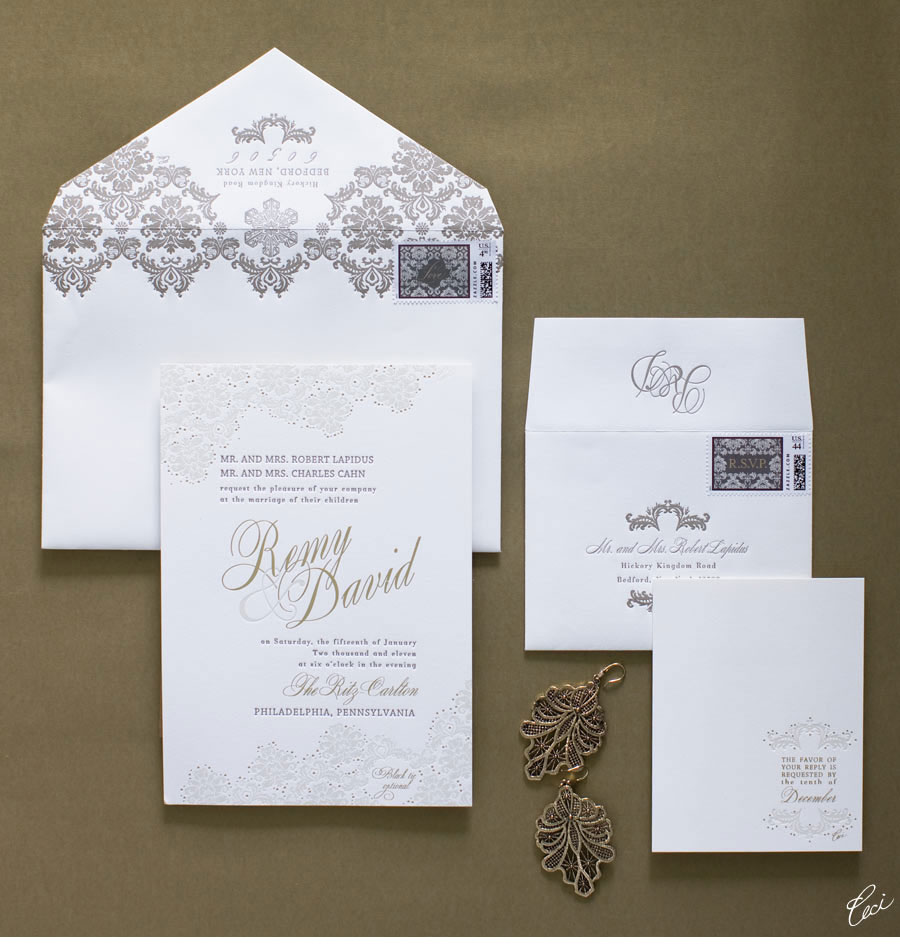 Luxury Wedding Invitations by Ceci New York - Our Muse - Winter Philadelphia Wedding - Be inspired by Remy & David's winter wedding in Philadelphia - wedding, invitations, foil printing, letterpress printing, custom stamps