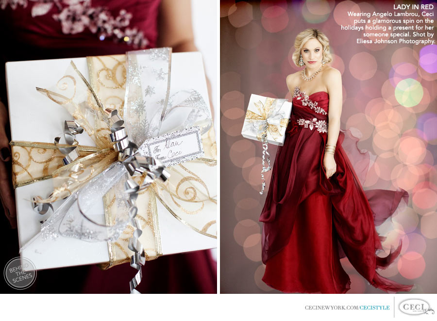 Ceci Johnson of Ceci New York - LADY IN RED: Wearing Angelo Lambrou, Ceci puts a glamorous spin on the holidays holding a present for her someone special. Shot by Eliesa Johnson Photography.