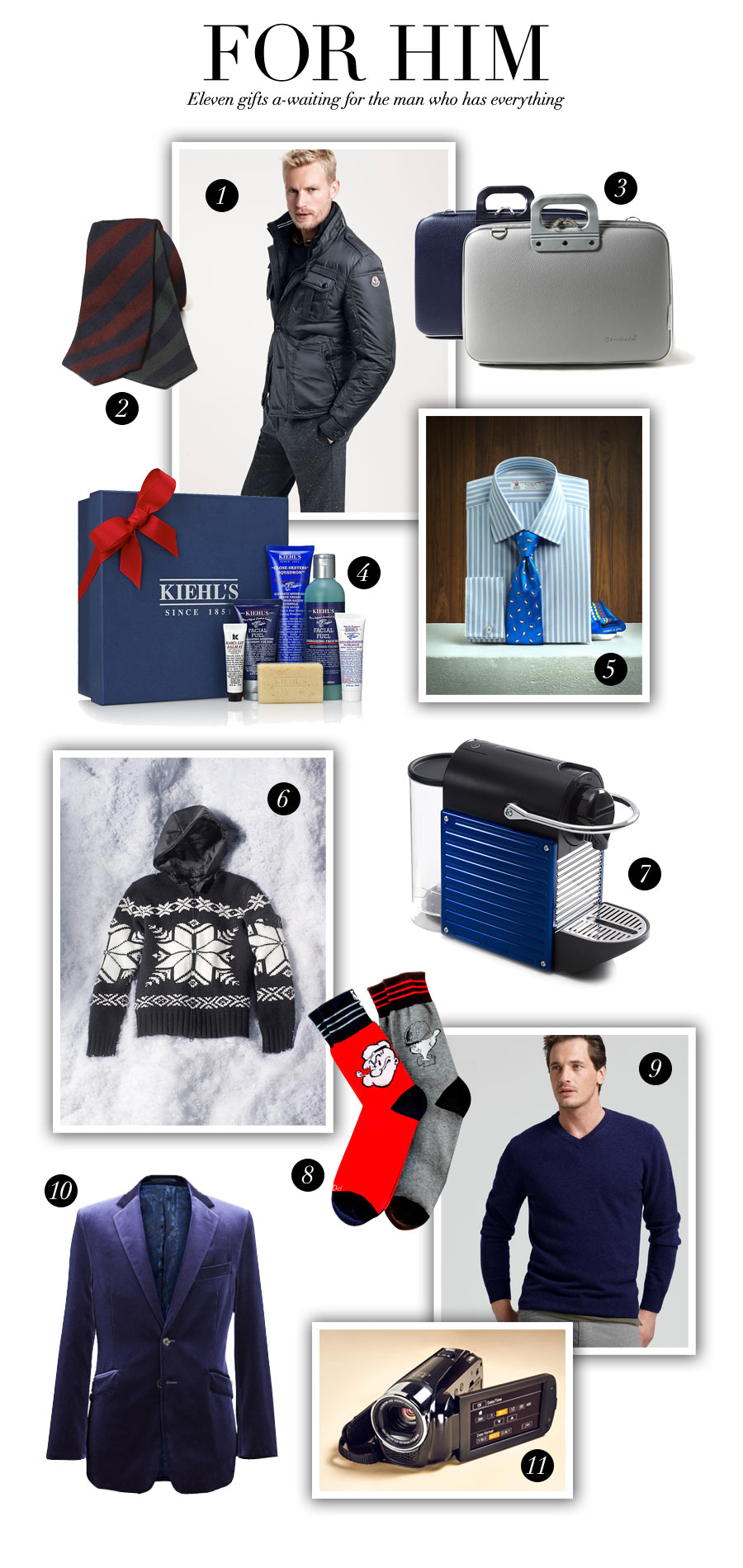 Holiday Fashion For Him: Eleven gifts a-waiting for the man who has everything - Holiday Fashion For Her & Him by Brooke Jaffe, Bloomingdale's