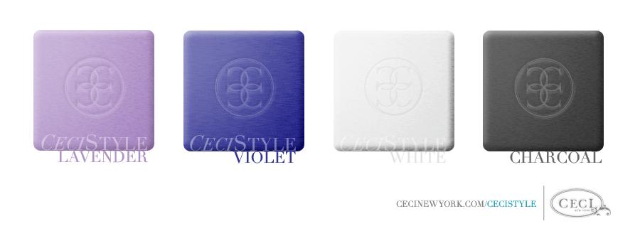 Ceci's Color Stories - Lavender & Violet Wedding Colors  - color swatches, charcoal, lavender, violet, wedding, white