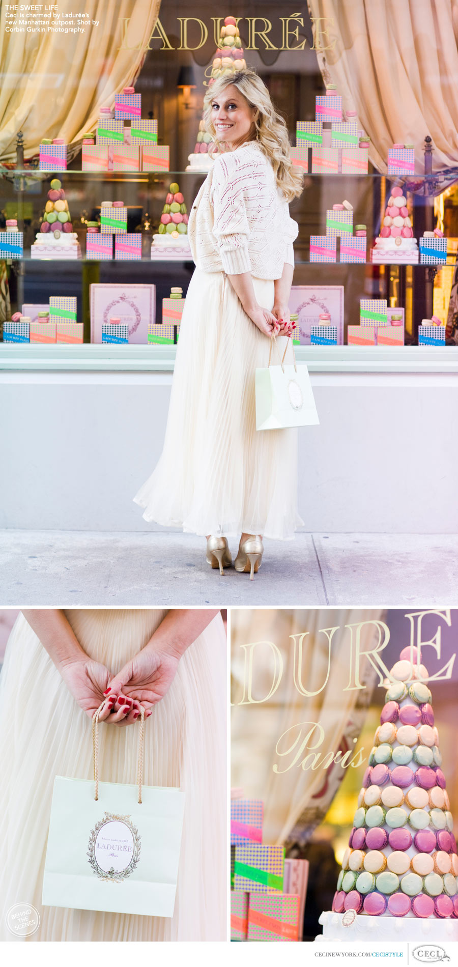 Ceci Johnson of Ceci New York - THE SWEET LIFE: Ceci looks on in delight at Ladurée's charming new Manhattan outpost. Shot by Corbin Gurkin Photography.