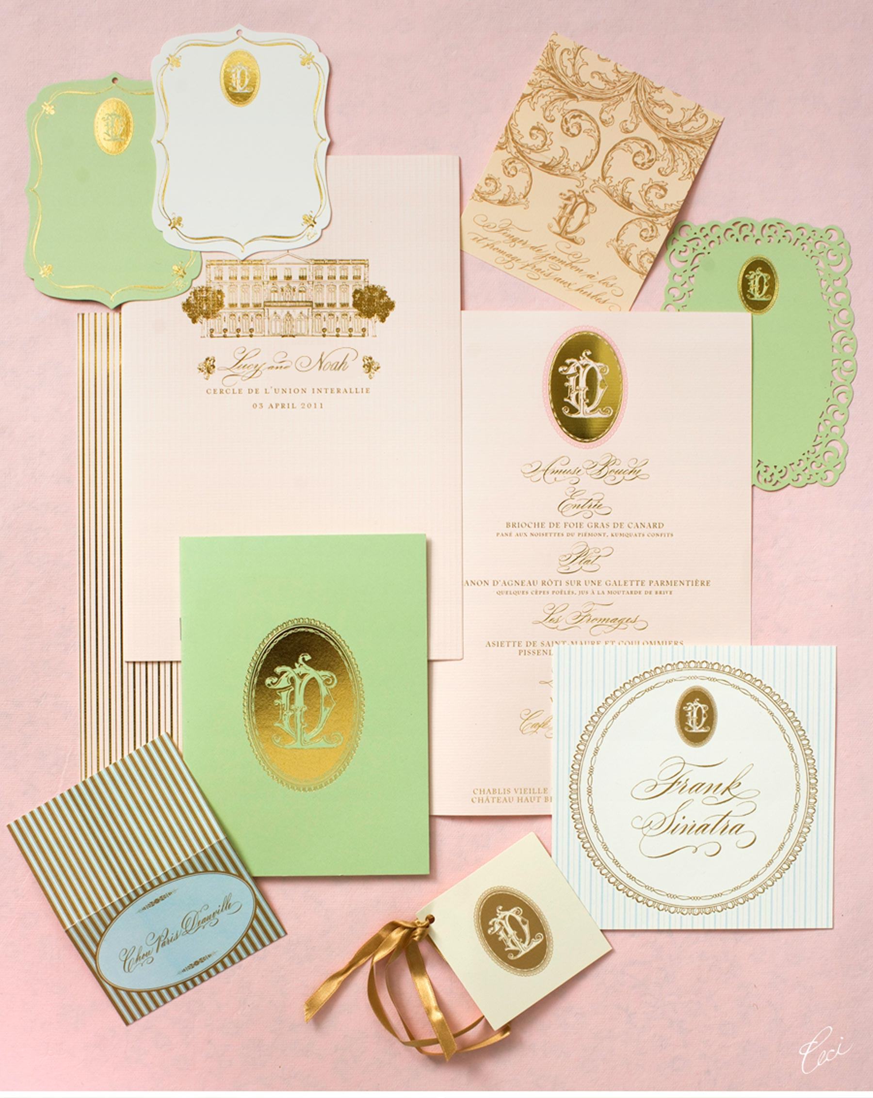 Luxury Wedding Invitations by Ceci New York - Our Muse - Romantic Parisian Wedding - Be inspired by Lucy & David's romantic Parisian wedding - wedding, escort cards, programs, menus, signs, foil printing, digital printing, hand calligraphy, laser cut printing, die cutting