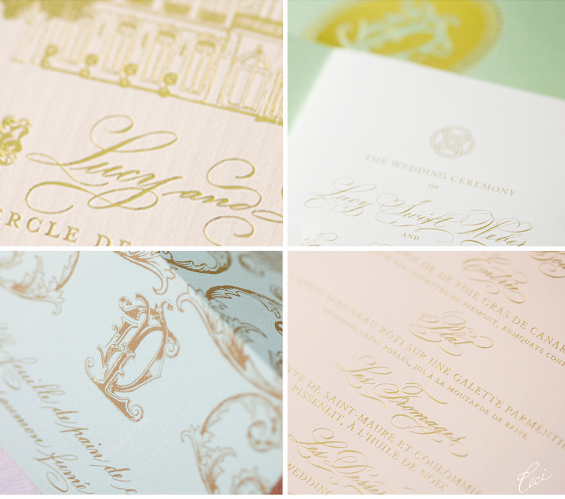 Luxury Wedding Invitations by Ceci New York - Our Muse - Romantic Parisian Wedding - Be inspired by Lucy & Noah's romantic Parisian wedding - wedding, escort cards, programs, menus, signs, foil printing, digital printing, hand calligraphy, laser cut printing, die cutting