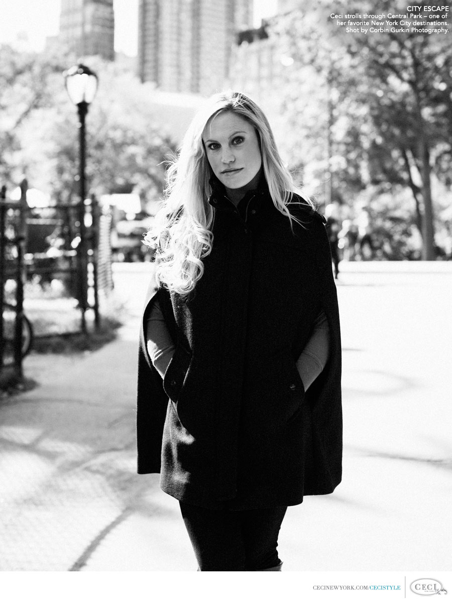 Ceci Johnson of Ceci New York - CITY ESCAPE: Ceci strolls through Central Park - one of her favorite New York City spots. Shot by Corbin Gurkin Photography.