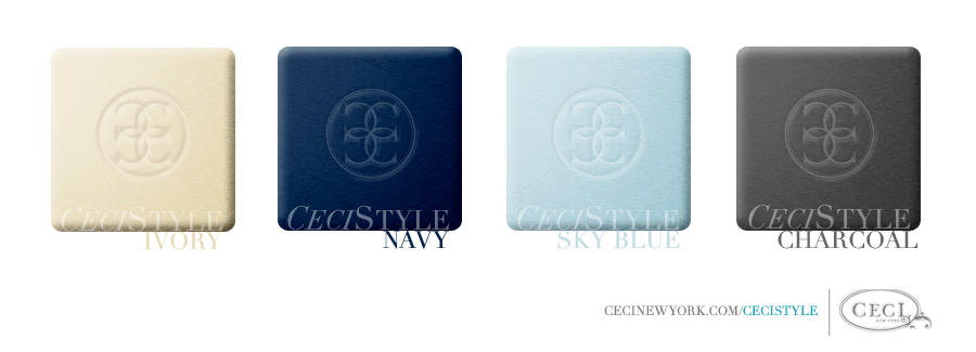 Ceci's Color Stories - Ivory & Navy Wedding Colors - color swatches, charcoal, ivory, navy, sky blue, wedding
