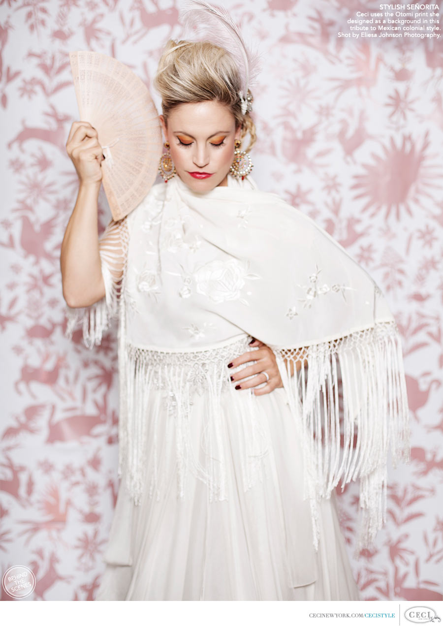 Ceci Johnson of Ceci New York - STYLISH SEÑORITA: Ceci uses the Otomi print she designed as a background in this tribute to Mexican colonial style. Shot by Eliesa Johnson Photography.