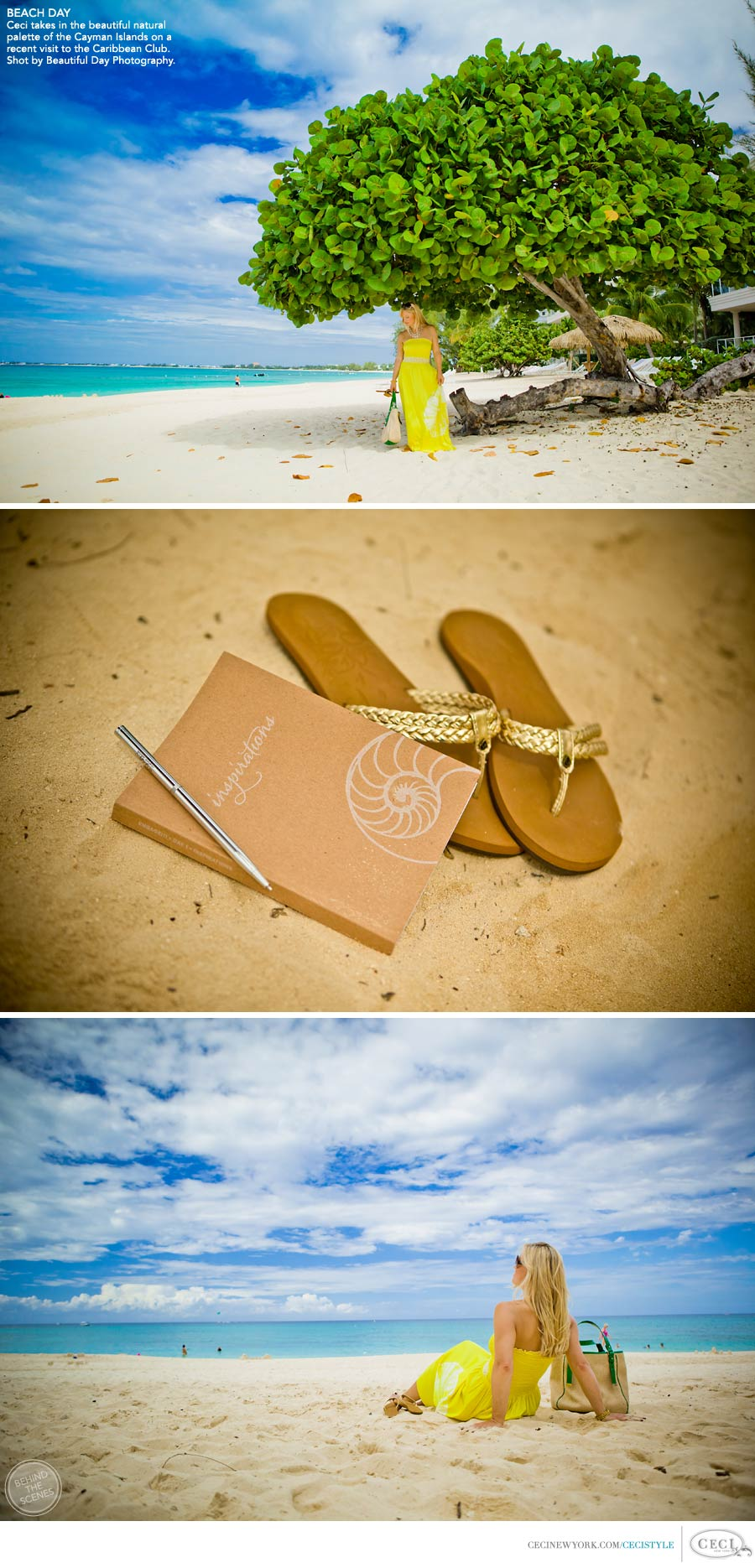 Ceci Johnson of Ceci New York - BEACH DAY: Ceci takes in the beautiful natural palette of the Cayman Islands on a recent visit to the Caribbean Club. Shot by Beautiful Day Photography.