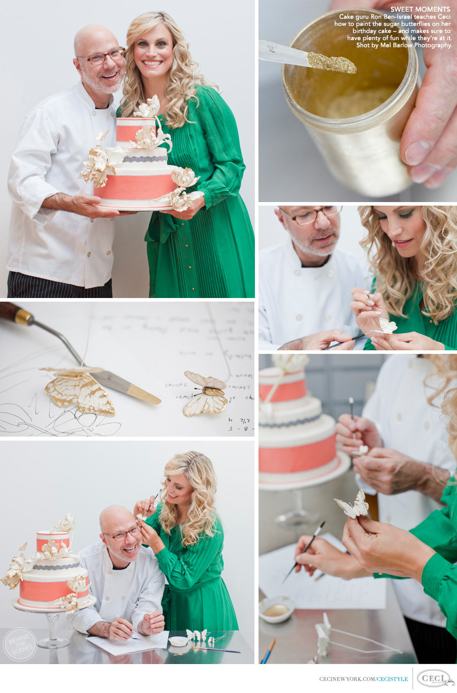 Ceci Johnson of Ceci New York - SWEET MOMENTS: Cake guru Ron Ben-Israel teaches Ceci how to paint the sugar butterflies on her birthday cake - and makes sure to have plenty of fun while they're at it. Shot by Mel Barlow Photography.