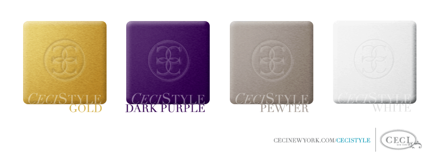 Ceci's Color Stories - Gold & Dark Purple Wedding Colors - color swatches, dark purple, gold, pewter, wedding, white