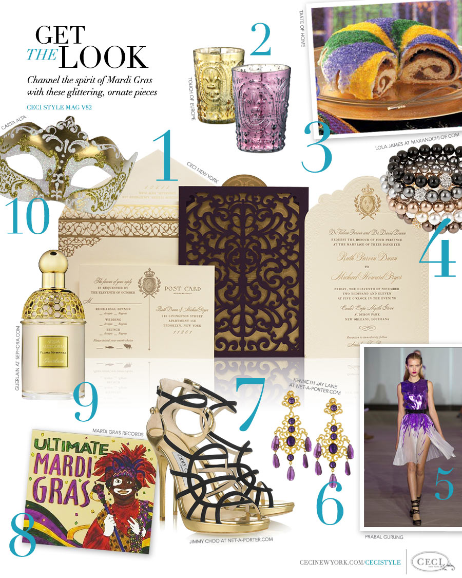 CeciStyle Magazine v82: Get The Look - Mad for Mardi Gras - Channel the spirit of Mardi Gras with these glittering, ornate pieces
