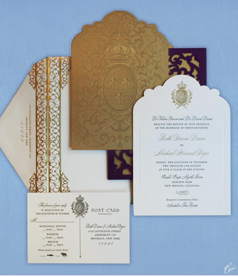 Luxury Wedding Invitations by Ceci New York - Our Muse - Festive New Orleans Wedding - Be inspired by Ruth & Michael's festive wedding in New Orleans - ceci new york, wedding, invitations, letterpress printing, foil printing, die-cutting, laser-cut printing
