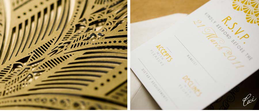 Luxury Wedding Invitations by Ceci New York - Our Muse - Australian Art-Deco Wedding: Iolanda & Michael - Be inspired by this Art-Deco-styled wedding in Australia - wedding, invitations, laser-cut printing, digital printing, foil printing