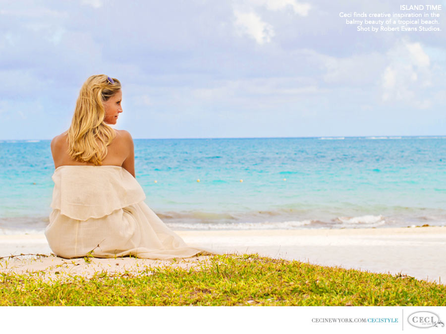 Ceci Johnson of Ceci New York - ISLAND TIME: Follow Ceci's lead and welcome spring by putting a flower in your hair or wearing something bright! Shot by Robert Evans Studios.