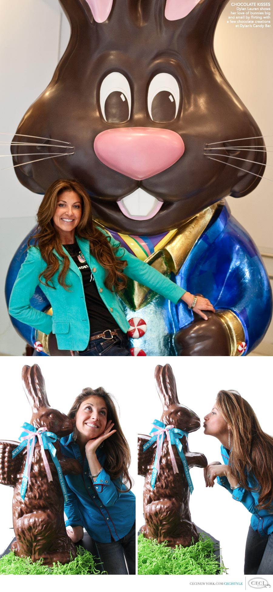 CHOCOLATE KISSES: Dylan Lauren shows her love of bunnies big and small by flirting with a few chocolate creations at Dylan's Candy Bar.