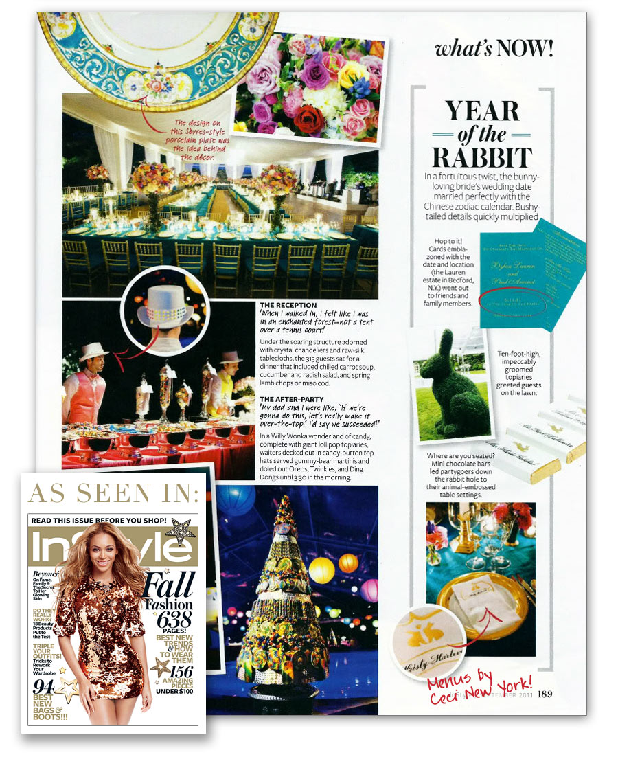 InStyle Magazine highlights the Ceci New York-designed wedding menus for Dylan Lauren!