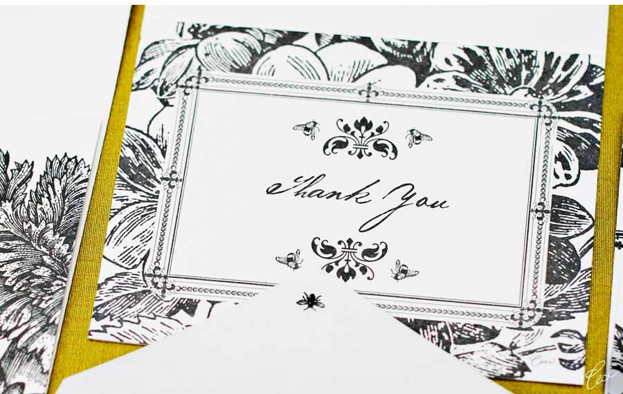 Luxury Wedding Invitations by Ceci New York - Our Muse - English Garden Table Design - Look 3 - English Garden: Lush flowers are the epitome of simplicity in stark black and white - escort cards, invitations, letterpress printing, menus, wedding