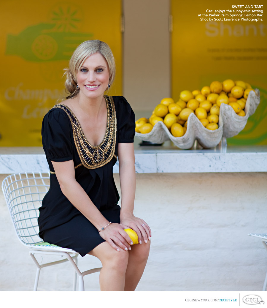 Ceci Johnson of Ceci New York - SWEET AND TART: Ceci enjoys the sunny-chic setting at the Parker Palm Springs' Lemon Bar. Shot by Scott Lawrence Photographs.