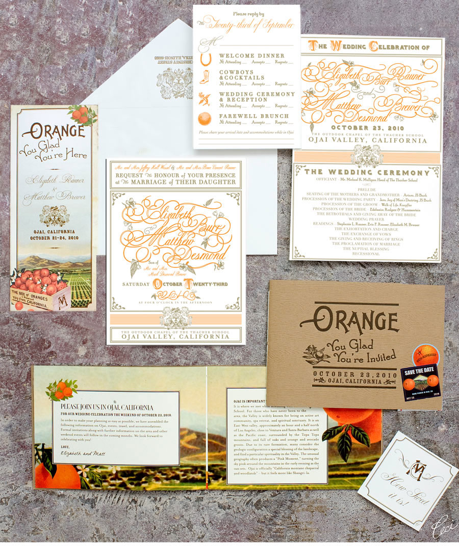 Luxury Wedding Invitations by Ceci New York - Our Muse - Elegant Orchard Wedding in Ojai - Be inspired by Elizabeth and Matthew's elegant orchard wedding in Ojai, California - wedding, invitations, letterpress printing, digital printing