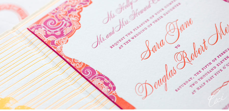 Luxury Wedding Invitations by Ceci New York - Our Muse - Festive Wedding in Mexico - Be inspired by Sara and Douglas's festive wedding in Mexico - wedding, invitations, letterpress printing, foil printing