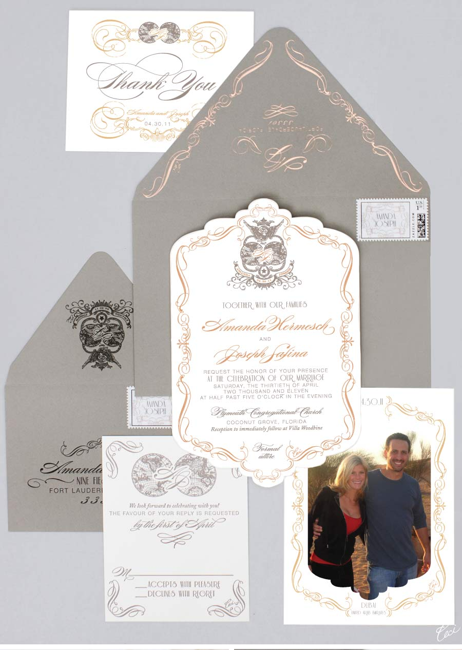 Luxury Wedding Invitations by Ceci New York - Our Muse - Elegant Old-World Wedding in Florida - Be inspired by Amanda & Joseph's elegant old-world wedding in Florida - wedding, invitations, foil printing, letterpress printing, digital printing, custom stamps