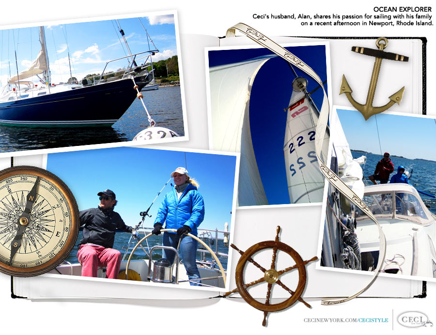 Ceci Johnson of Ceci New York - OCEAN EXPLORER: Ceci's husband, Alan, shares his passion for sailing with his family on a recent afternoon in Newport, Rhode Island.