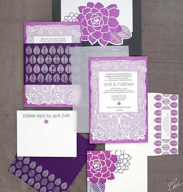 Ronit & Matthew - Luxury Wedding Invitations - Botanical - Ceci Couture - Ceci Wedding - Ceci New York