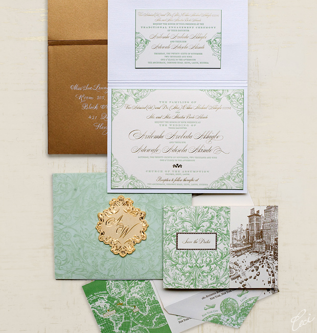Azie & Wale - Lagos - Luxury Wedding Invitations - Ornate - Ceci Couture - Ceci Wedding - Ceci New York