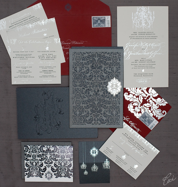 Luxury Wedding Invitations By Ceci New York: Jennifer & Jonathan :: Ceci Ornate Style :: Ceci Couture