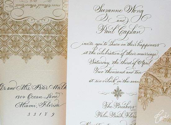 The Gold Room - Luxury Wedding Invitations - Details - The Breakers, Palm Beach - Ceci Partnerships - Ceci New York
