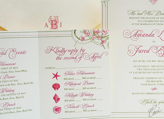 Ocean Breeze - Luxury Wedding Invitations - Details - The Breakers, Palm Beach - Ceci Partnerships - Ceci New York