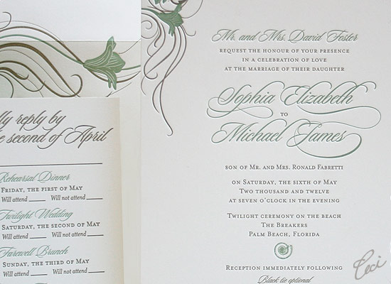 Poinciana - Luxury Wedding Invitations - Details - The Breakers, Palm Beach - Ceci Partnerships - Ceci New York