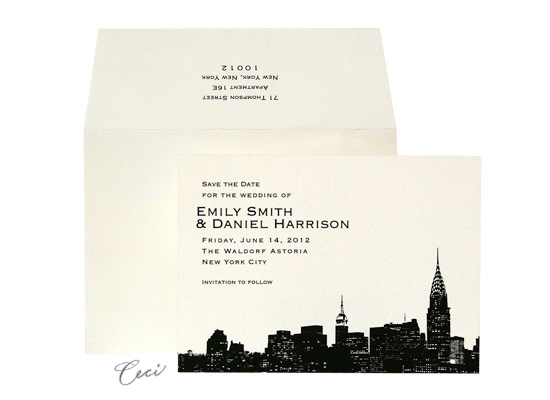 Evening Skyline - Luxury Wedding Invitations - Ceci Ready-to-Order Collection - Ceci Wedding - Ceci New York